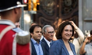 The mayor of Barcelona, Ada Colau, arrives for a floral tribute on the national day, la Diada