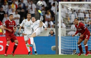 Gareth Bale scores the second goal for Real Madrid with a stunning overhead kick during the Real Madrid v Liverpool Champions League final 2018 at the Olympic Stadium, Kiev in May 2018