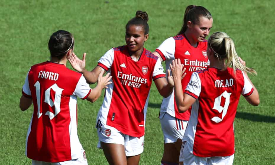 Nikita Parris is congratulated by teammates after scoring Arsenal's fourth goal against Okzheptes at the Sapsan Arena in Moscow.