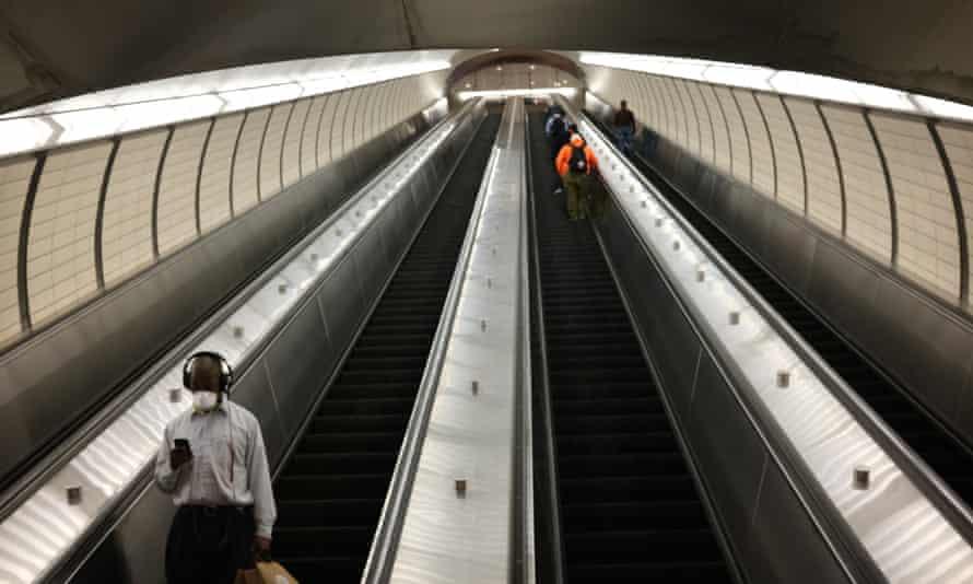 A near-empty escalator on the New York subway