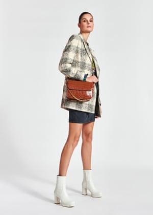 Check blazer, £345, floral shirt, £155, miniskirt, £140, croc-effect bag, £155, and boots, £235, essentiel-antwerp.com