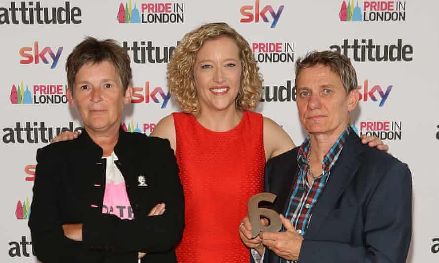 Booan Temple (left) with Cathy Newman and Sally Francis at the Attitude Pride awards in 2017.