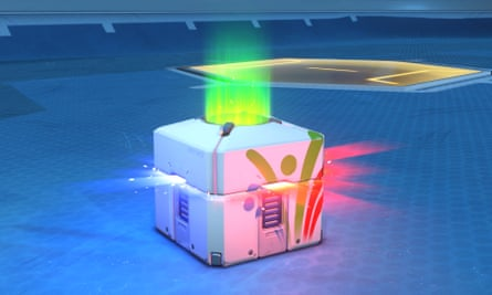 A loot box from the game Overwatch.