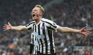 Sean Longstaff celebrates after scoring Newcastle's second.