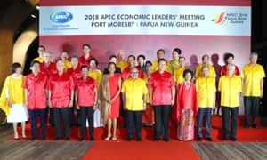 World leaders pose for a group photo at the Apec summit in Port Moresby on Saturday.