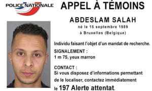 The French police wanted notice for Salah Abdeslam.