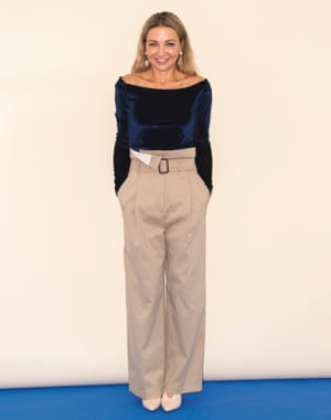 Jess Cartner-Morley in blue boat neckline top and trousers