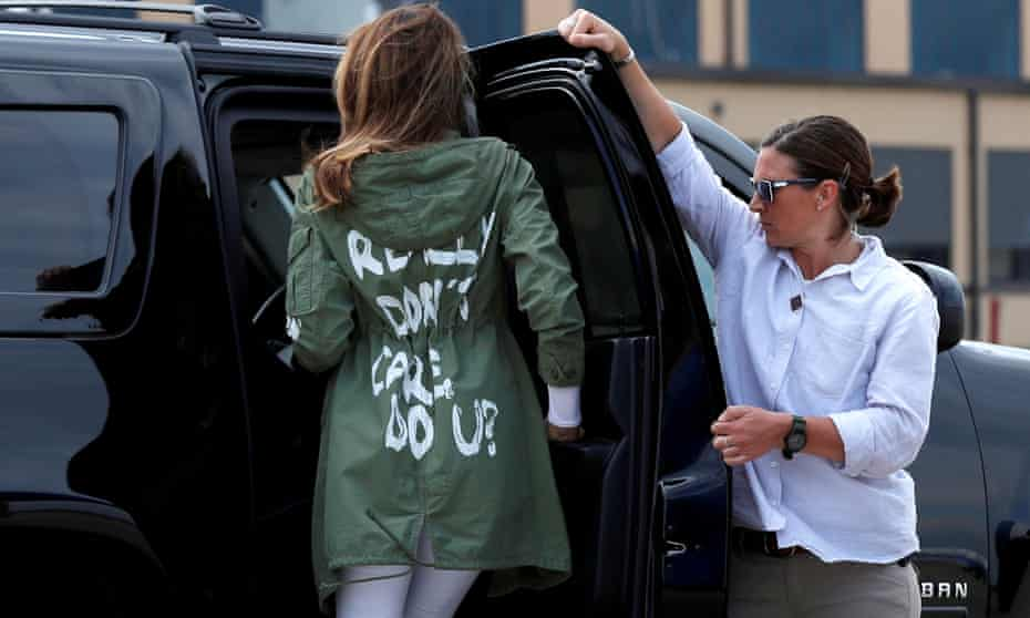 Melania Trump rides in her motorcade dressed in the infamous Zara jacket, in Maryland in 2018.
