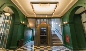 A bit Wes Anderson … foyer of Bristol Wing, with its restored lift.