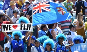 Fiji fans added to the colour and atmosphere on the first day of the Sydney Sevens tournament at Allianz Stadium.