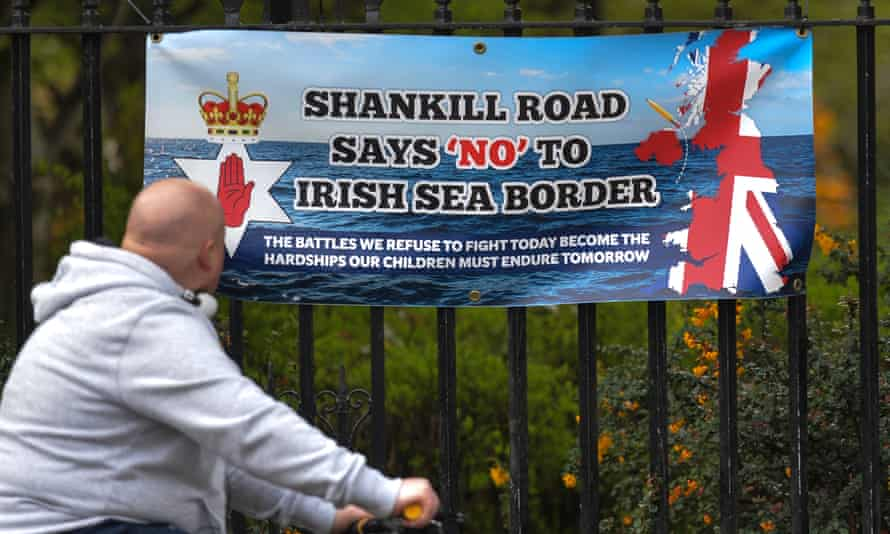 A banner in Belfast protesting against the Northern Ireland protocol.