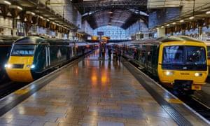 Great Western Railway branded trains at Paddington station, London