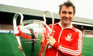 Brian Clough took over at Nottingham Forest in 1975 when they were struggling in the old Division Two. Within five years they had won the Division One title and the European Cup twice. He is pictured with the 1980 Cup, their second.