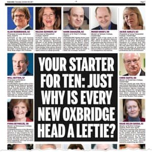 Part of the Daily Mail's attack on the heads of Oxbridge colleges.