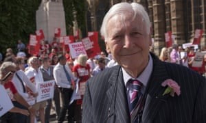 Lord Avebury celebrates the passing of the Gay Marriage Bill in July 2013 with campaigners