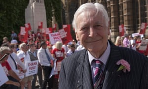 Lord Avebury joins campaigners as they await the outcome of the vote in the House of Lords on gay marriage in 2013.