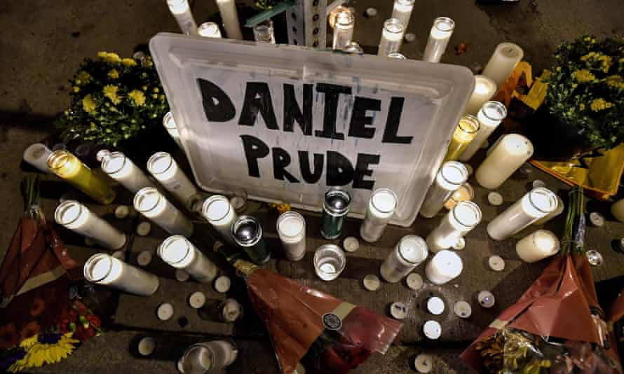 A makeshift memorial, in Rochester, New York on 2 September 2020, near the site where Daniel Prude was restrained by police officers.
