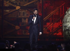 Presenter Jack Whitehall on stage at the Brit awards at the O2 arena in London.