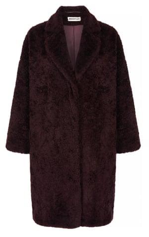 Burgundy teddy cocoon coat