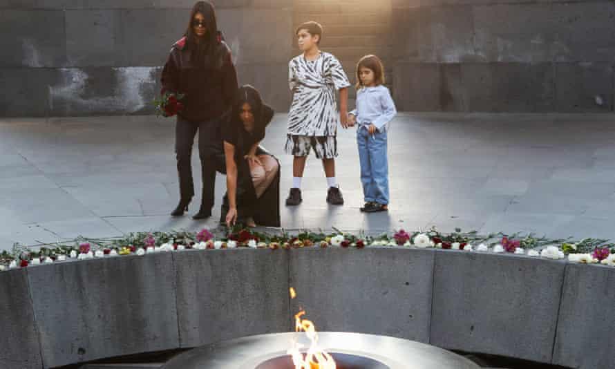 Kim and Kourtney Kardashian at the Armenian Genocide Memorial in Yerevan.
