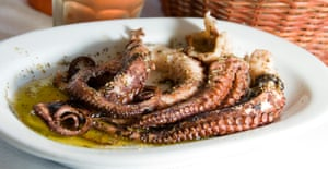 A plate of grilled octopus