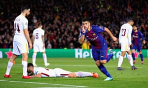 Luis Suárez ended his year-long wait for a Champions League goal with Barcelona's fourth against Roma.