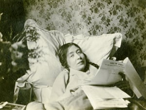 Sylvia Pankhurst in bed recovering from hunger strike