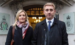 Jon Platt and his wife, Sally Platt, outside the supreme court where their dispute with Isle of Wight council is due to be decided on Thursday.