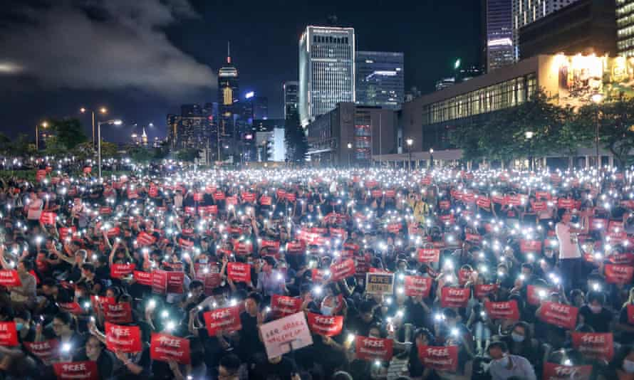 Anti-extradition campaigners in Hong Kong on 26 June.