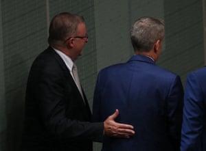 Anthony Albanese congratulates Opposition leader Bill Shorten.