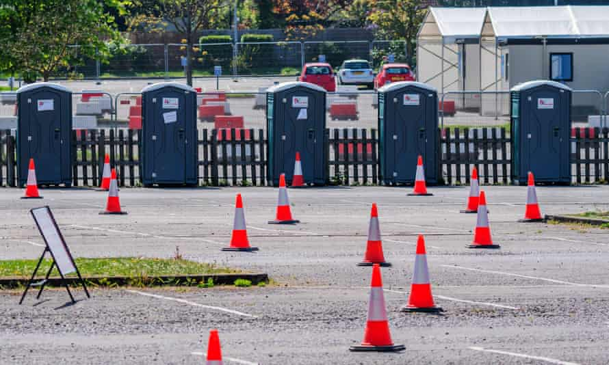 Portable toilets loos at a drive-in test centre at Chessington World of Adventures