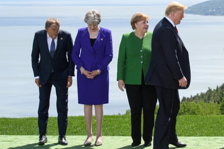From left: president of the European council Donald Tusk (L), Theresa May, Angela Merkel and Donald Trump at the G7 summit earlier this year.