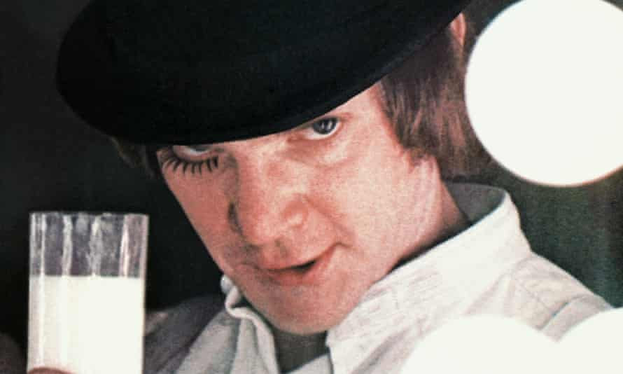 Alex (Malcolm McDowell with a glass of Moloko Plus in Stanley Kubrick's film of A Clockwork Orange.