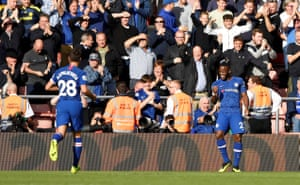 Batshuayi celebrates scoring Chelsea's fourth.