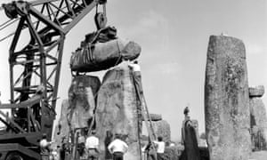 Work on the Stonehenge trilithon in 1958.