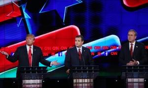Donald Trump, Ted Cruz and Jeb Bush during a Republican presidential debate in Las Vegas.