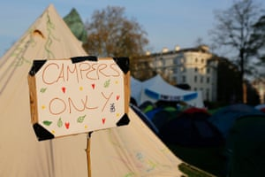 A sign at the Extinction Rebellion encampment at Marble Arch