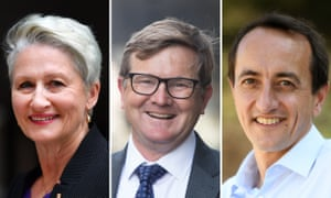 High-profile doctor and independent candidate Kerryn Phelps is up against Labor's Tim Murray (middle) and the Liberals' Dave Sharma in the Wentworth byelection on 20 October.