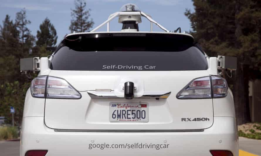 Lexus SUV equipped with Google self-driving sensors.