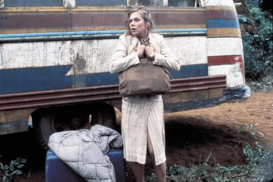 Kathleen Turner with her wheeled suitcase in Romancing the Stone.