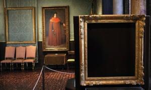 Empty frames at the Isabella Stewart Gardner Museum in Boston