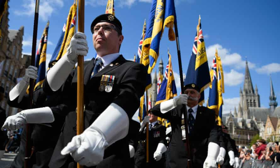 Veterans, members of the armed forces and family members take part in a British Legion One Hundred Days ceremony on August 8 in Ypres.