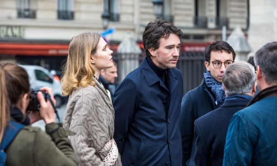 Antoine Arnault, CEO of Berluti, and his wife Natalia Vodianova visit Notre-Dame de Paris after the fire.