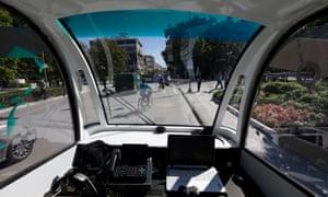 Inside the CityMobil2 driverless bus as it travels through Trikala.