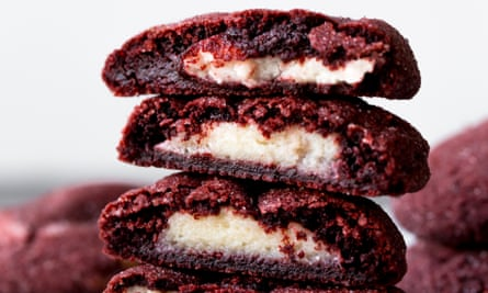 Red velvet cookies stuffed with cream cheese