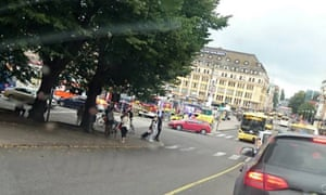 A picture taken on a mobile phone of the market square in Turku, where people were stabbed on Friday afternoon.