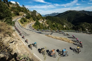 Riders on a descent on Stage 2 from Nice Haut Pays to Nice.