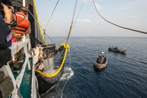 Liberian coastguard aboard the Oriental Kim tuna fishing vessel