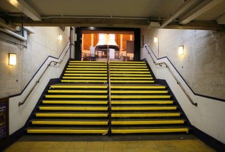 Steps in Arnos Grove underground station.