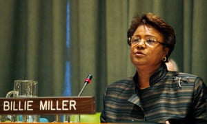 Dame Billie Miller, pictured in 2008 accepting the United Nations Population Fund award for outstanding work in improving people's health and welfare